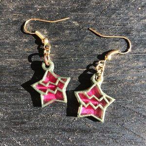 Handmade UV Resin Aquarius Zodiac Symbol Earrings